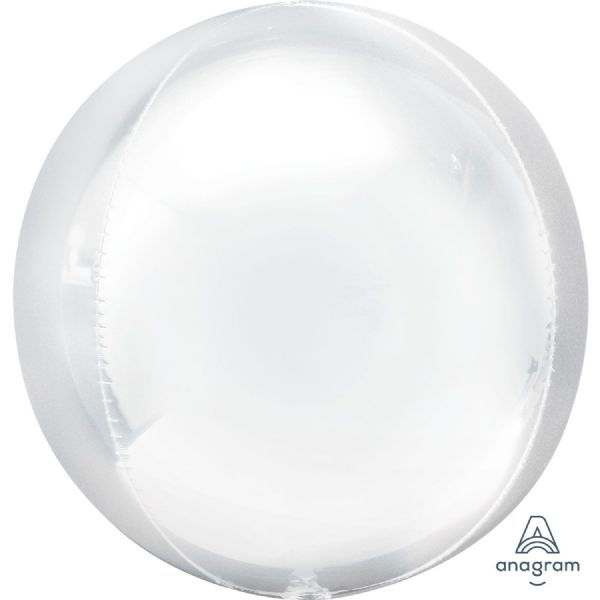 White  Round Orbz 15in Balloon